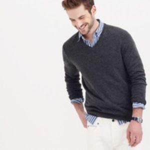 J. Crew Sz S Gray Cotton Cashmere V-neck sweater